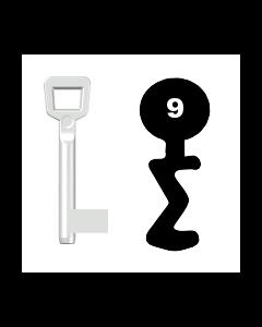 Buntbartschlüssel Schulte Schlagbaum Nr. 9 (Abbildung von der Ringseite aus gesehen)
