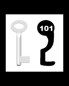 Buntbartschlüssel Standard Nr. 101 (Abbildung von der Ringseite aus gesehen)