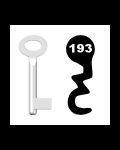 Buntbartschlüssel Standard Nr. 193 (Abbildung von der Ringseite aus gesehen)