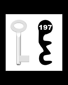 Buntbartschlüssel Standard Nr. 197 (Abbildung von der Ringseite aus gesehen)