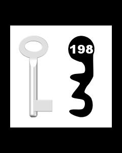 Buntbartschlüssel Standard Nr. 198 (Abbildung von der Ringseite aus gesehen)