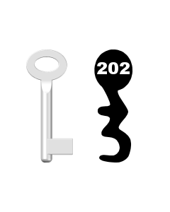 Buntbartschlüssel Standard Nr. 202 (Abbildung von der Ringseite aus gesehen)