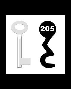 Buntbartschlüssel Standard Nr. 205 (Abbildung von der Ringseite aus gesehen)