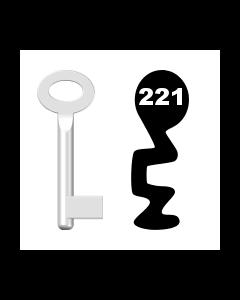 Buntbartschlüssel Standard Nr. 221 (Abbildung von der Ringseite aus gesehen)