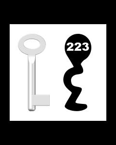 Buntbartschlüssel Standard Nr. 223 (Abbildung von der Ringseite aus gesehen)