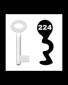 Buntbartschlüssel Standard Nr. 224 (Abbildung von der Ringseite aus gesehen)