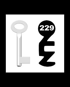 Buntbartschlüssel Standard Nr. 229 (Abbildung von der Ringseite aus gesehen)