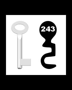 Buntbartschlüssel Standard Nr. 243 (Abbildung von der Ringseite aus gesehen)
