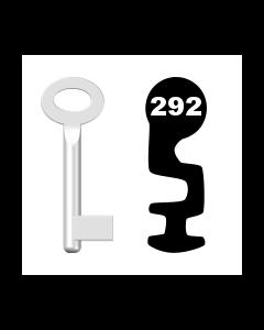 Buntbartschlüssel Standard Nr. 292 (Abbildung von der Ringseite aus gesehen)