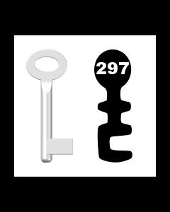Buntbartschlüssel Standard Nr. 297 (Abbildung von der Ringseite aus gesehen)
