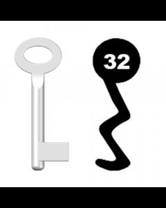 Buntbartschlüssel Standard Nr. 32 (Abbildung von der Ringseite aus gesehen)