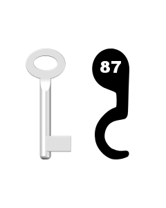 Buntbartschlüssel Standard Nr. 87 (Abbildung von der Ringseite aus gesehen)