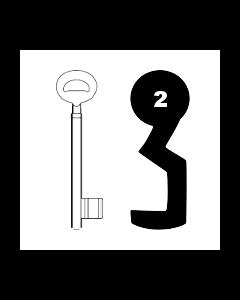 Buntbartschlüssel Bever & Klophaus System H Nr. 2
