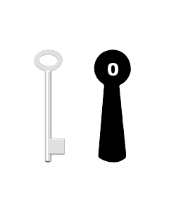 Buntbartschlüssel für Kastenschloss Nr. 0