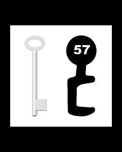 Buntbartschlüssel für Kastenschloss Nr. 57