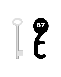 Buntbartschlüssel für Kastenschloss Nr. 67
